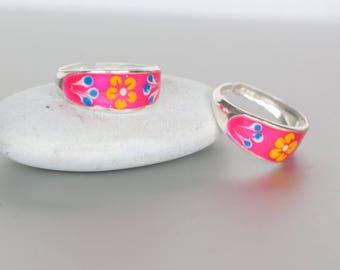 Pink Toe Ring, Sterling Silver Toe Rings, Minimalist Toe Ring, Simple Toe Rings, Gift For Her, Toe Band, Bohemian,Beach Wear Toe Ring (TS83)