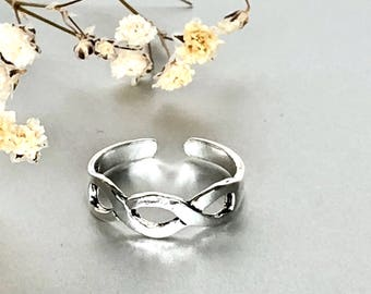 Toe Ring, Infinity Sterling Silver Toe Ring, Silver Toe Ring, Boho Jewelry, Delicate Toe Ring, Gifts For Her (TS111)
