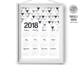 2018 Calendar, Large Wall Planner 2018, Modern Calendar, Scandinavian Home Decor, Blush Copper Poster Calendar, 50x70 Calendar, Print Avenue