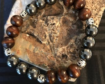 Hematite & Sandle Wood Stretch Bracelet