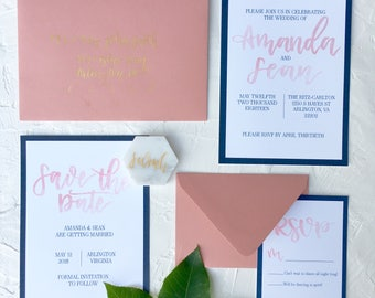 Blush Watercolor And Navy Wedding Suite | Blush And Navy Wedding Suite |  Custom Wedding Suite