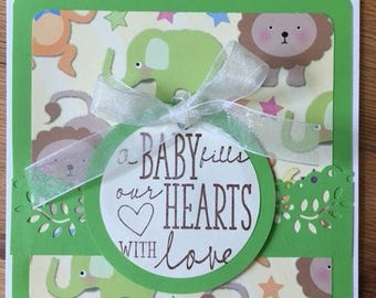 """Handmade Card """"Baby's Fill Our Hearts with Love"""" Greeting Card"""