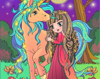 DIGITAL Coloring pages Anime Princess and UNICORN
