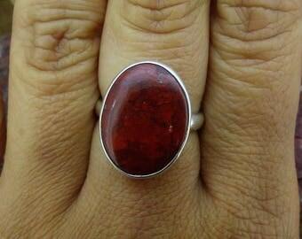 Spectacular Scottish Red Jasper freeform adjustable sterling silver ring Free WORLDWIDE DELIVERY & RETURNS, Two Skies, Scottish (8025)