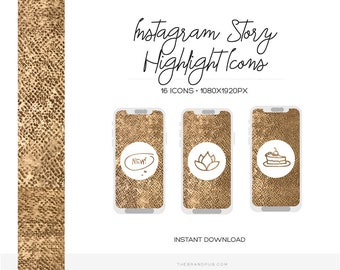 Instagram Story Highlight Icons - Gold Hand drawn Story Highlight Covers - Minimalist Instagram Icons - Instagram Story Covers