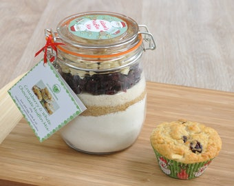 Personalised Xmas muffin mix, cranberry and white chocolate, Xmas baking gift, clip top jar with muffin ingredients, Christmas baking gift,