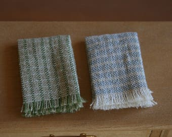dollhouse tea towels, miniature kitchen cloths, folded, blue and green, modern dollhouse, 1:12 scale