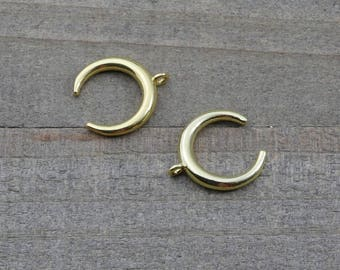 5 PIECES Moon gold plated, double horn pendant, crescent moon pendant, moon charm, horn pendant B0082730