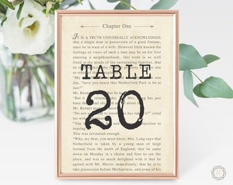 Wedding Table Numbers, Table Numbers, Literary Wedding, Book Page Table Number, Book Themed Wedding, Table Number Card, Printable, #LCS
