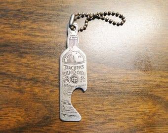 Teacher's Highland Cream Whiskey Bottle Opener Key Chain Teacher's Scotch Whiskey Advertising Bottle Opener Key Chain Teachers Bottle Opener
