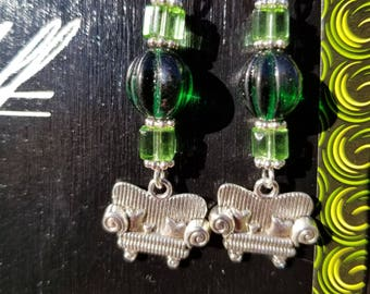 Couch Tour, Dangle Earrings, Green, Glass Cube, Melon Bead, Silver, Sofa