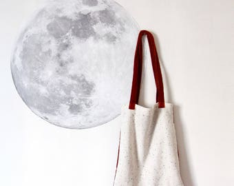 Tote bag in speckled ivory cotton fabric and velvet rust