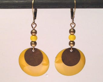 Enameled yellow, bronze sequin and matching beads dangling earrings