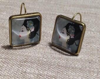 Earrings square studs - Geisha