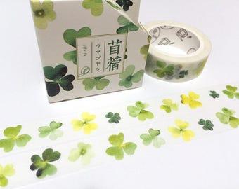 Clover washi tape 8M Green tone leaves Lucky grass light green dark green garden decor sticker gardening planner sticker tape scrapbook gift