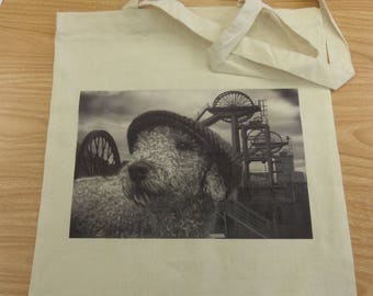 100% Natural Cotton, Shopping, Tote Bag,  Bedlington Terrier, Colliery, Dog, Foldable, Gift,