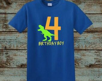 Dinosaur Birthday Shirt, T-Rex, Birthday Boy, ROAR, Dino Shirt, Four