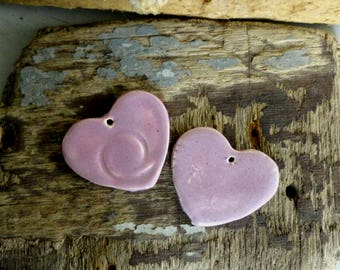 2 hearts in earthenware, enamel rose pendants made by hand-love and friendship