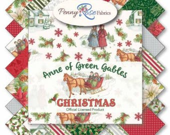 "Anne of Green Gables Christmas 5"" Stackers (42 5"" squares) from Penny Rose Fabrics 100% quilting cotton precut charm pack licensed"