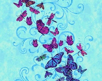 "Aflutter 24"" Panel Blue Butterfly Panel by Elizabeth Isles Studio E quilting cotton fabric by the yard metre 3910P-77 blue pink flowers"