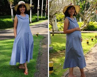 Linen Summer Dress, Maternity Dress, Blue Linen Dress, Tea Length Dress, Peter Pan Collar Dress, Resort Wear