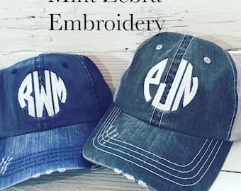 Monogrammed Distressed Trucker Hat Personalized Trucker Hat Distressed Baseball Hat