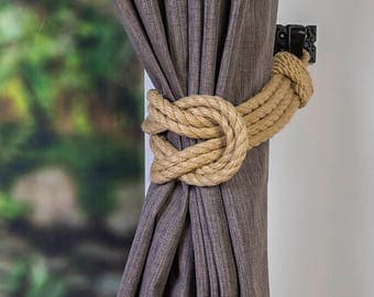 Hemp Rope Double Square Knot Nautical Curtain Tie-Backs/ Shabby Chic beige brown Curtain hold-Backs / Nursery Window Treatment / Rope Ties