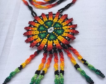 Beaded Peyote Necklace. Mexican Native Necklace.
