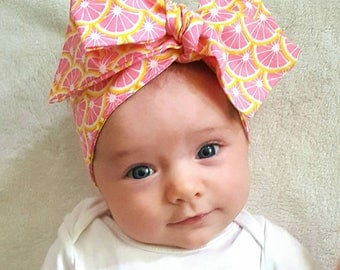 Pink and yellow citrus headwrap