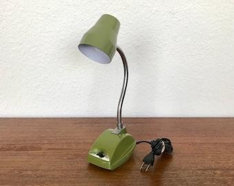 Prestige Line 1977 Adjustable Olive Green Gooseneck Hi/Lo Intensity Task Lamp- Hong Kong