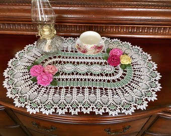 Oval Spearmint Lace Doily - French Country Decor - Farmhouse Doily - Housewarming Gift - Dining Room Decor - Wedding Gift - Table Decor