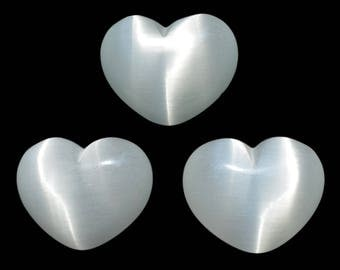 Lot of 3 Puffy Heart White Fiber Optic Cats Eye Glass Pocket Sized Hand Carved