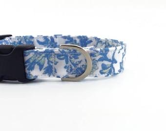 Blue Birds Cottage-Chic Dog Collar   Floral Dog Collar   Girl Dog Collar   Adjustable Dog Collar   Small Dog Collar   Large Dog Collar