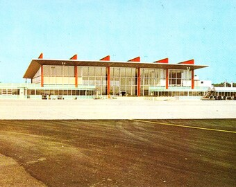 Vintage RI Postcard, Theodore Francis Green Airport, Warwick RI, Rhode Island Postcard, 60s Postcard, Airport Postcard, Real Photo, Unposted