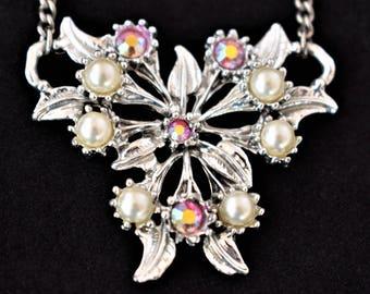 "Vintage Floral Choker Pendant Necklace Aurora Borealis Rhinestone Faux Pearl 16"""