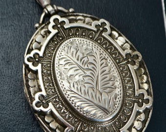 1884 Antique Large STERLING SILVER Day & Night Double Sided / Reversible LOCKET
