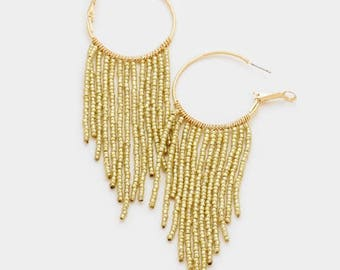 seed bead hoop earrings, beaded hoop earrings, beaded hoops, seed bead earrings, gold beaded hoop earrings, fringe hoop earrings