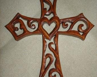Wooden Cross, Handmade Cross, Wood carving cross, Christmas  Cross, Cross wall decor, 9 inches cross