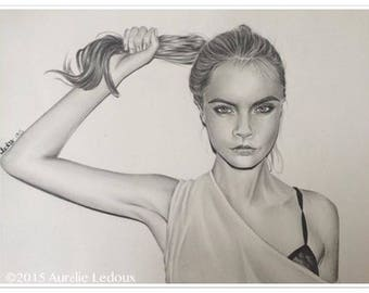 "pencil portrait ""Cara Delevingne"" graphite"
