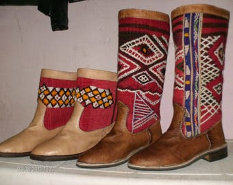 Handmade tall ethnic brown designer boots with tapestry