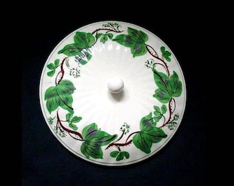 "Blue Ridge Lid DEWBERRY 9"" Covered Vegetable Bowl Casserole Handpainted Ivy Dinnerware Colonial Shape Erwin TN  (B29) 3912"