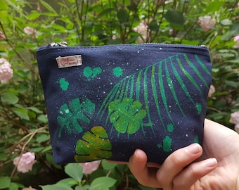Palm leaves - hand painted purse