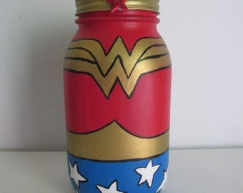 Hand-Painted Wonderwoman Inspired Mason Jar Piggy Bank, Quart Sized