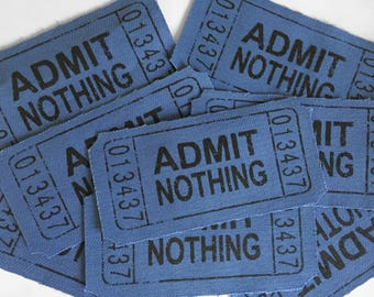 Admit Nothing, Ticket, Punk Patch, Admit One, New Patch, Punched Ticket, ACAB, Crust Punk, Anarchist Patch, Unique Patch, Know Your Rights