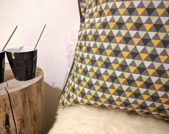 Piped Cushion cover style Scandinavian cotton/linen 40 x 40 cm