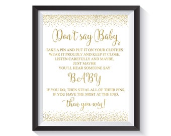 Donu0027t Say Baby. Funny Baby Shower Games, Clothespin Game, Gold Confetti