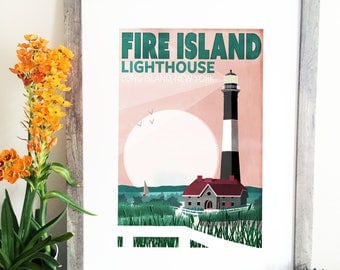 Fire Island Lighthouse Illustration - Fire Island Travel Poster - Long Island