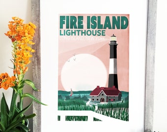 Fire Island Lighthouse Illustration - Fire Island Travel Poster - Long Island