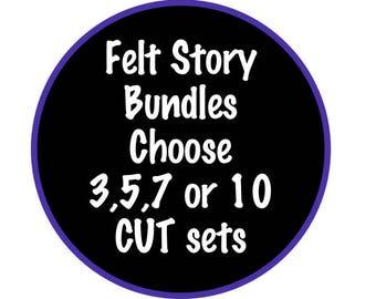 Felt Board Stories Bundle Set - Choose from 3, 5, 7, or 10 CUT Flannel Board Sets - Speech Therapy Preschool - Early Intervention