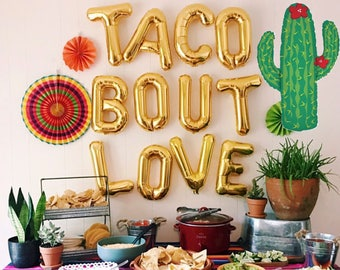 TACO BOUT LOVE Letter Balloons Foil Air Fill only Set of 12 Letters / Large Cactus Balloon Fiesta Party Decor Bridal Engagement